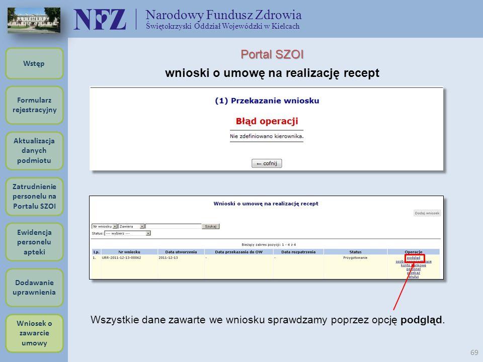 Narodowy Fundusz Zdrowia Świętokrzyski Oddział Wojewódzki w Kielcach 69 Portal SZOI wnioski o umowę na realizację recept Wszystkie dane zawarte we wni