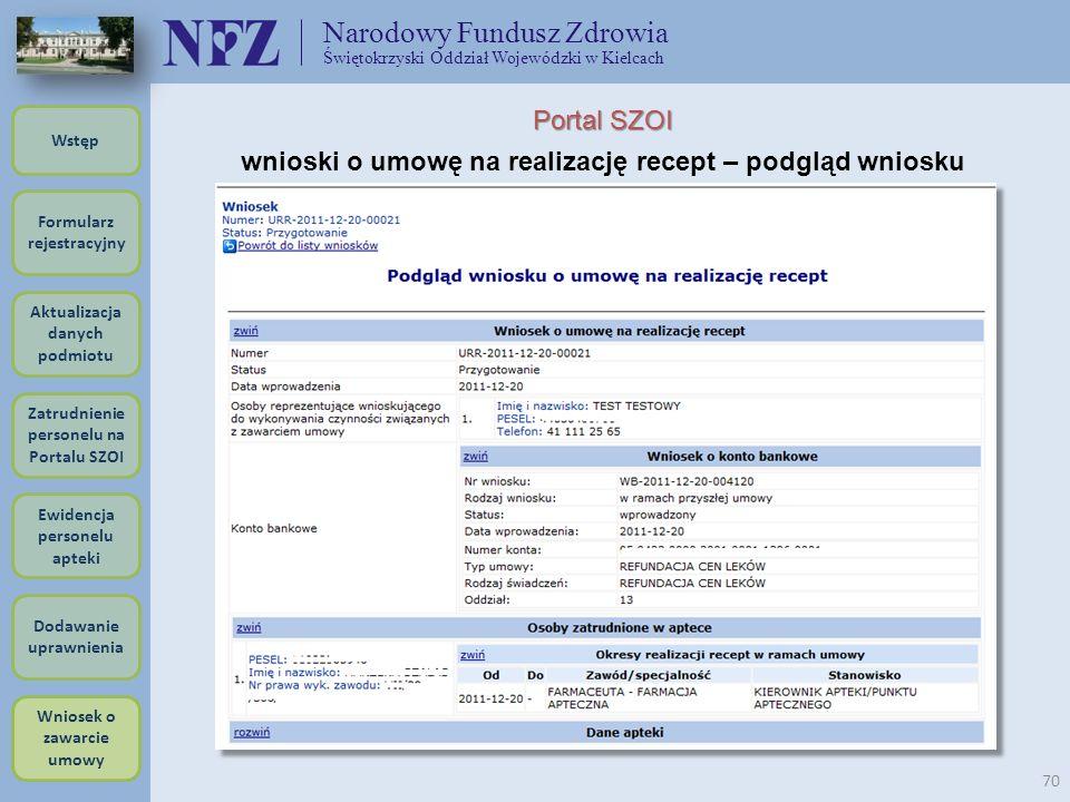 Narodowy Fundusz Zdrowia Świętokrzyski Oddział Wojewódzki w Kielcach 70 Portal SZOI wnioski o umowę na realizację recept – podgląd wniosku Formularz r