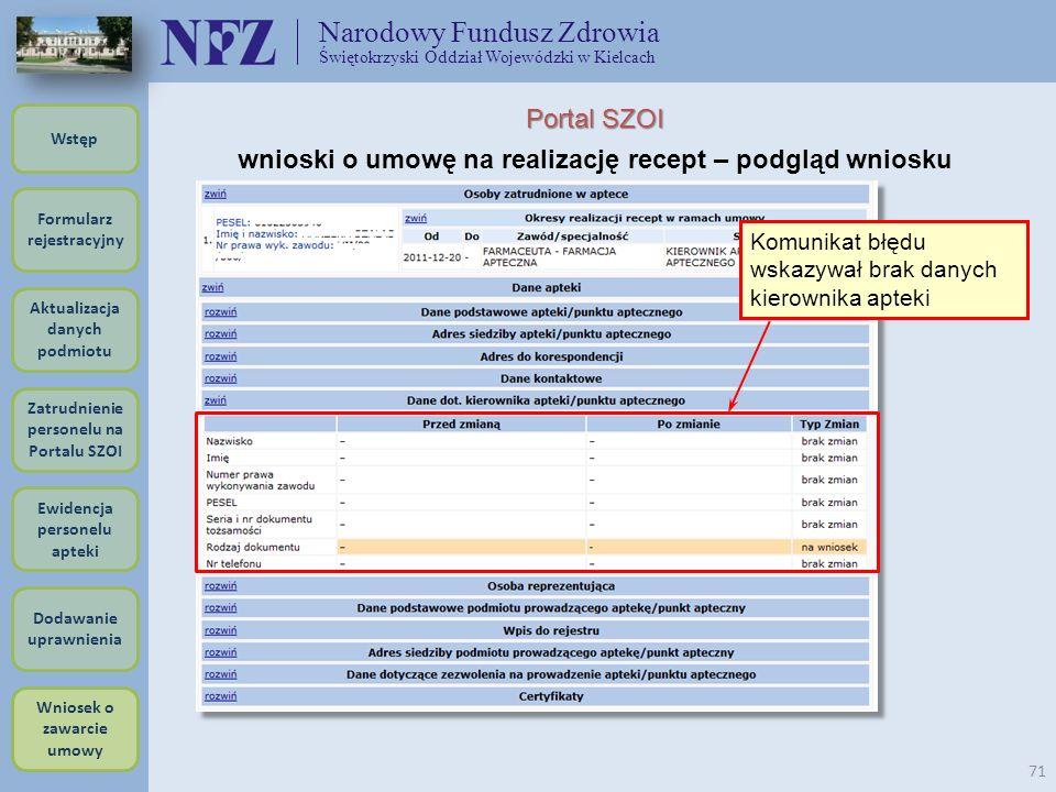 Narodowy Fundusz Zdrowia Świętokrzyski Oddział Wojewódzki w Kielcach 71 Portal SZOI wnioski o umowę na realizację recept – podgląd wniosku Komunikat b