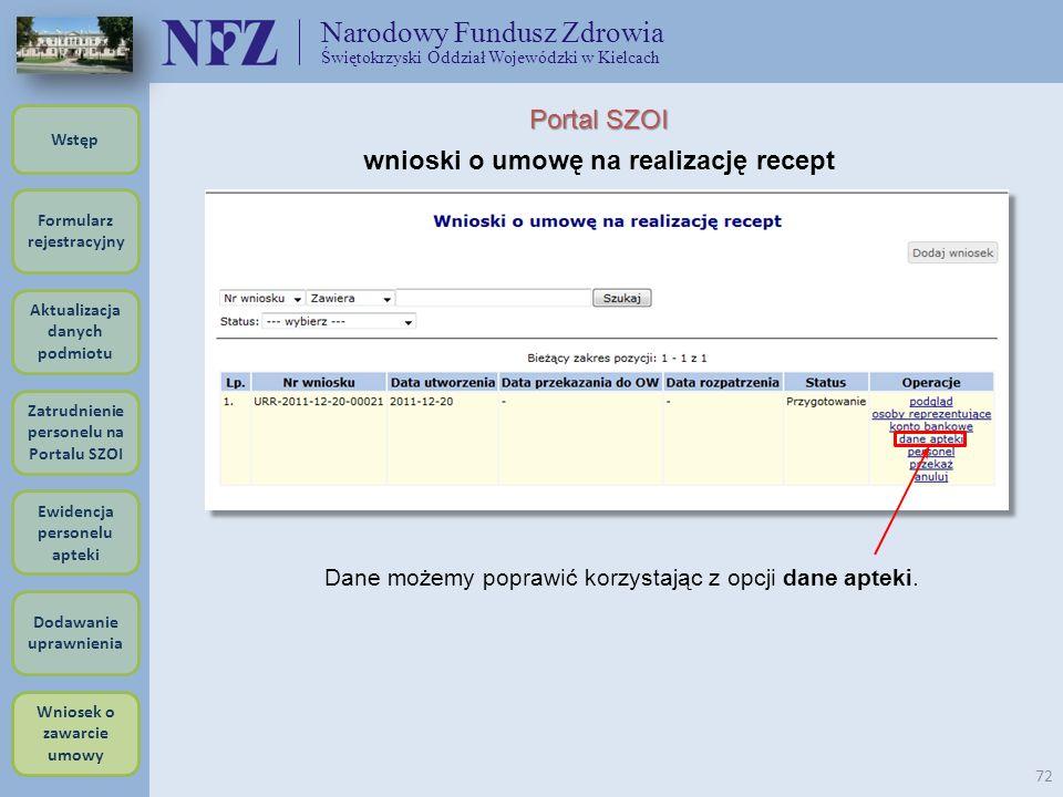 Narodowy Fundusz Zdrowia Świętokrzyski Oddział Wojewódzki w Kielcach 72 Portal SZOI wnioski o umowę na realizację recept Dane możemy poprawić korzysta