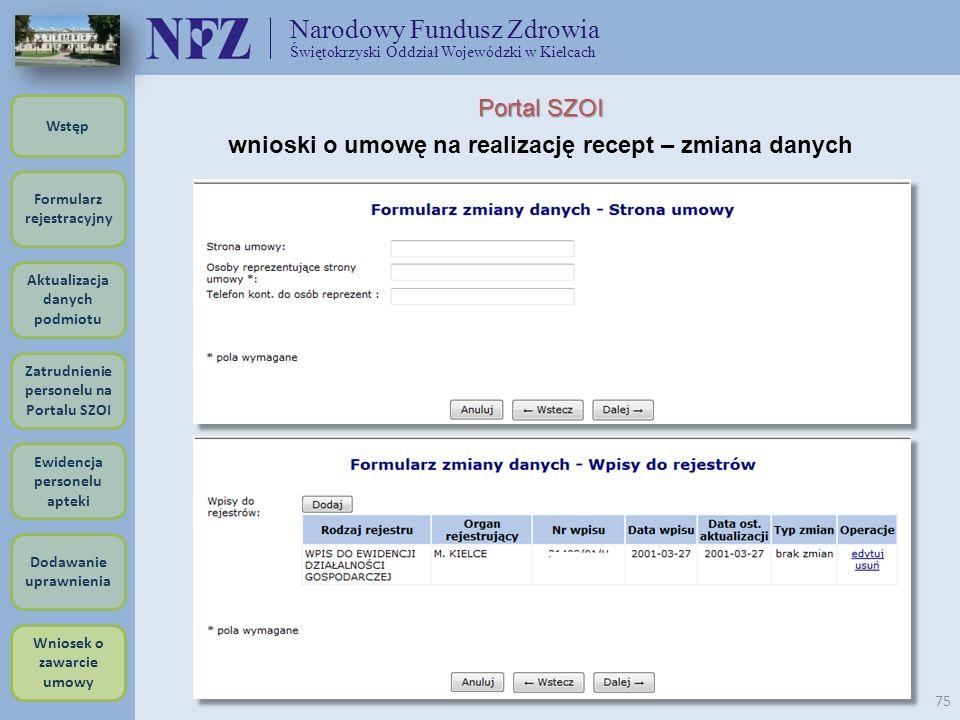 Narodowy Fundusz Zdrowia Świętokrzyski Oddział Wojewódzki w Kielcach 75 Portal SZOI wnioski o umowę na realizację recept – zmiana danych Formularz rej