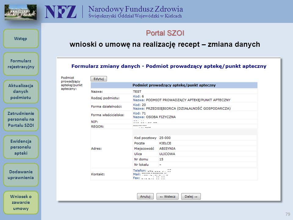 Narodowy Fundusz Zdrowia Świętokrzyski Oddział Wojewódzki w Kielcach 79 Portal SZOI wnioski o umowę na realizację recept – zmiana danych Formularz rej