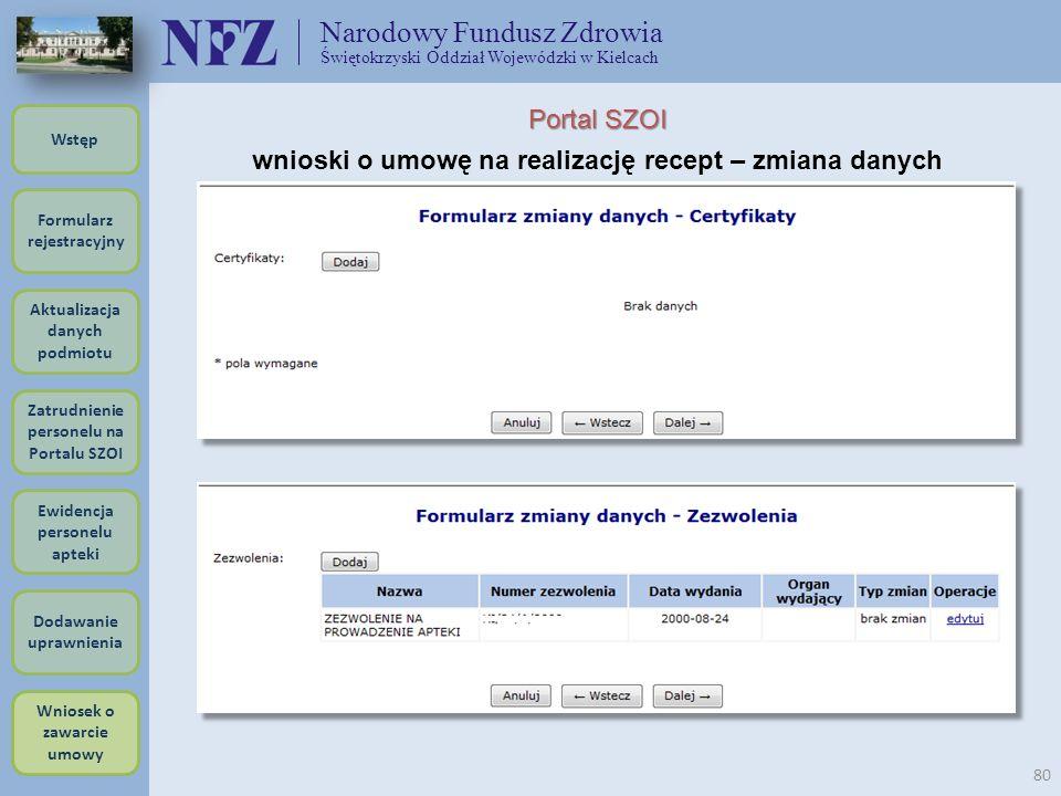 Narodowy Fundusz Zdrowia Świętokrzyski Oddział Wojewódzki w Kielcach 80 Portal SZOI wnioski o umowę na realizację recept – zmiana danych Formularz rej