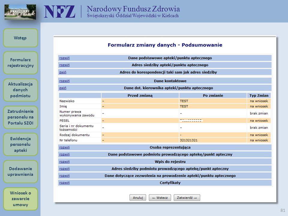 Narodowy Fundusz Zdrowia Świętokrzyski Oddział Wojewódzki w Kielcach 81 Formularz rejestracyjny Wstęp Aktualizacja danych podmiotu Zatrudnienie person