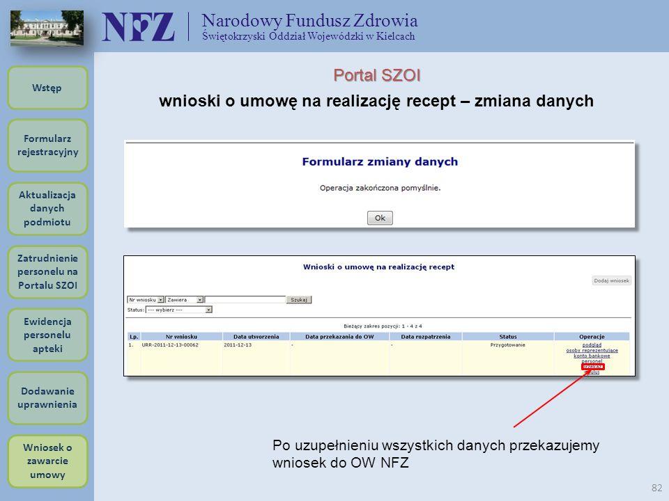 Narodowy Fundusz Zdrowia Świętokrzyski Oddział Wojewódzki w Kielcach 82 Portal SZOI wnioski o umowę na realizację recept – zmiana danych Po uzupełnien