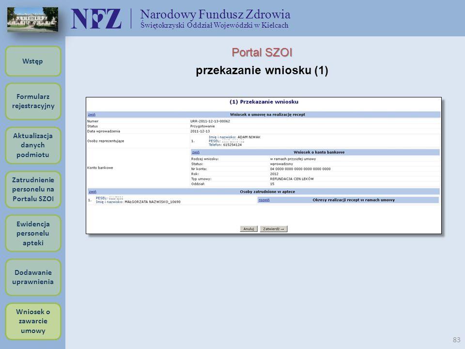 Narodowy Fundusz Zdrowia Świętokrzyski Oddział Wojewódzki w Kielcach 83 Portal SZOI przekazanie wniosku (1) Formularz rejestracyjny Wstęp Aktualizacja
