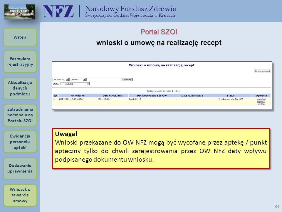 Narodowy Fundusz Zdrowia Świętokrzyski Oddział Wojewódzki w Kielcach 84 Uwaga! Wnioski przekazane do OW NFZ mogą być wycofane przez aptekę / punkt apt
