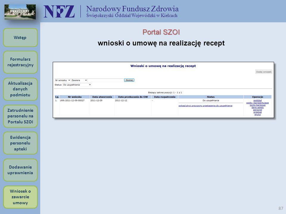 Narodowy Fundusz Zdrowia Świętokrzyski Oddział Wojewódzki w Kielcach 87 Portal SZOI wnioski o umowę na realizację recept Formularz rejestracyjny Wstęp