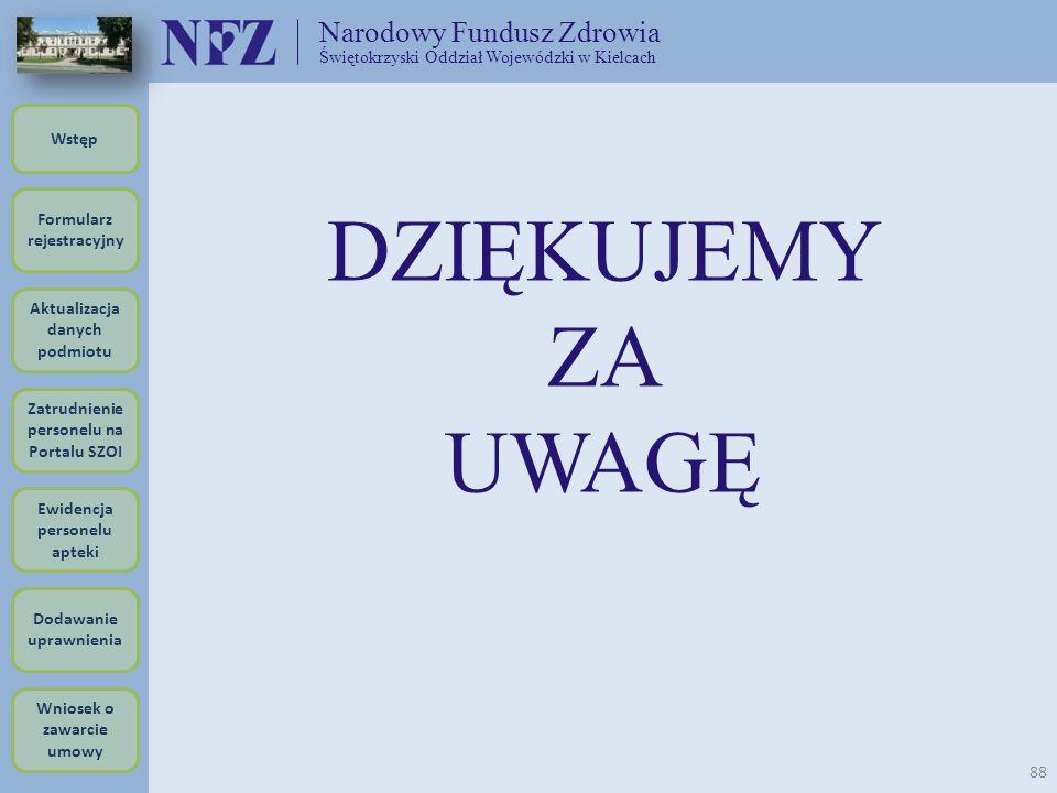 Narodowy Fundusz Zdrowia Świętokrzyski Oddział Wojewódzki w Kielcach 88 DZIĘKUJEMY ZA UWAGĘ Formularz rejestracyjny Wstęp Aktualizacja danych podmiotu