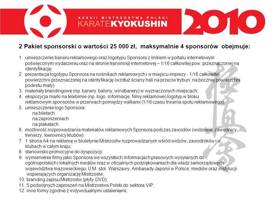 2 Pakiet sponsorski o wartości 25 000 zł, maksymalnie 4 sponsorów obejmuje: 1. umieszczenie baneru reklamowego oraz logotypu Sponsora z linkiem w port