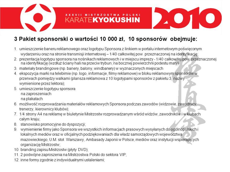 3 Pakiet sponsorski o wartości 10 000 zł, 10 sponsorów obejmuje: 1. umieszczenie baneru reklamowego oraz logotypu Sponsora z linkiem w portalu interne