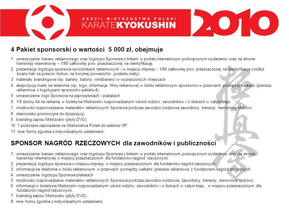 4 Pakiet sponsorski o wartości 5 000 zł, obejmuje 1. umieszczenie baneru reklamowego oraz logotypu Sponsora z linkiem w portalu internetowym poświęcon