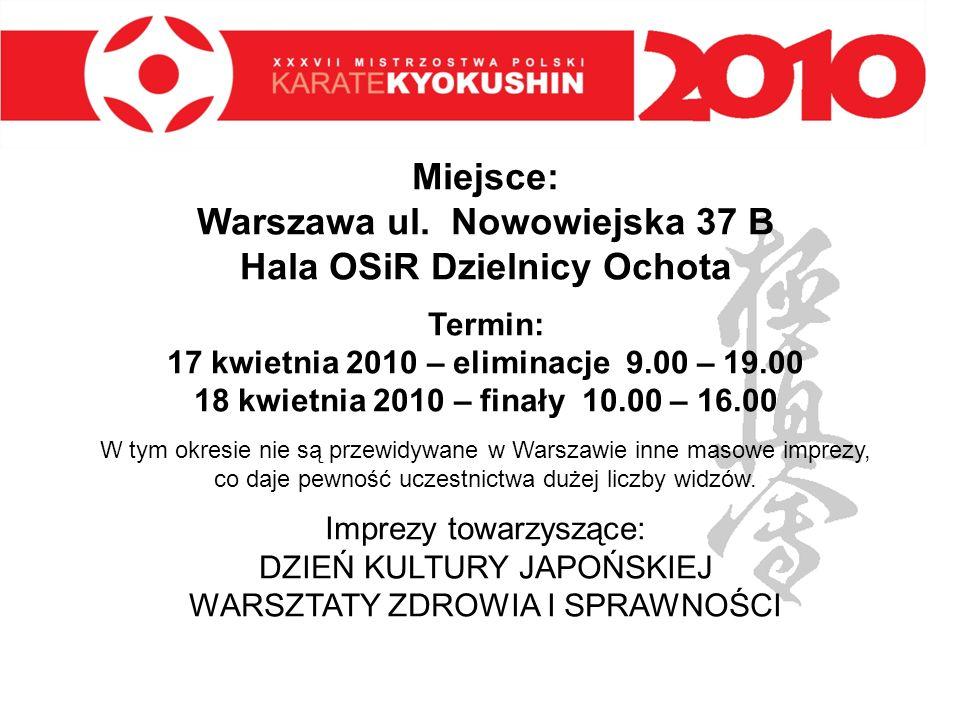 Miejsce: Warszawa ul. Nowowiejska 37 B Hala OSiR Dzielnicy Ochota Termin: 17 kwietnia 2010 – eliminacje 9.00 – 19.00 18 kwietnia 2010 – finały 10.00 –