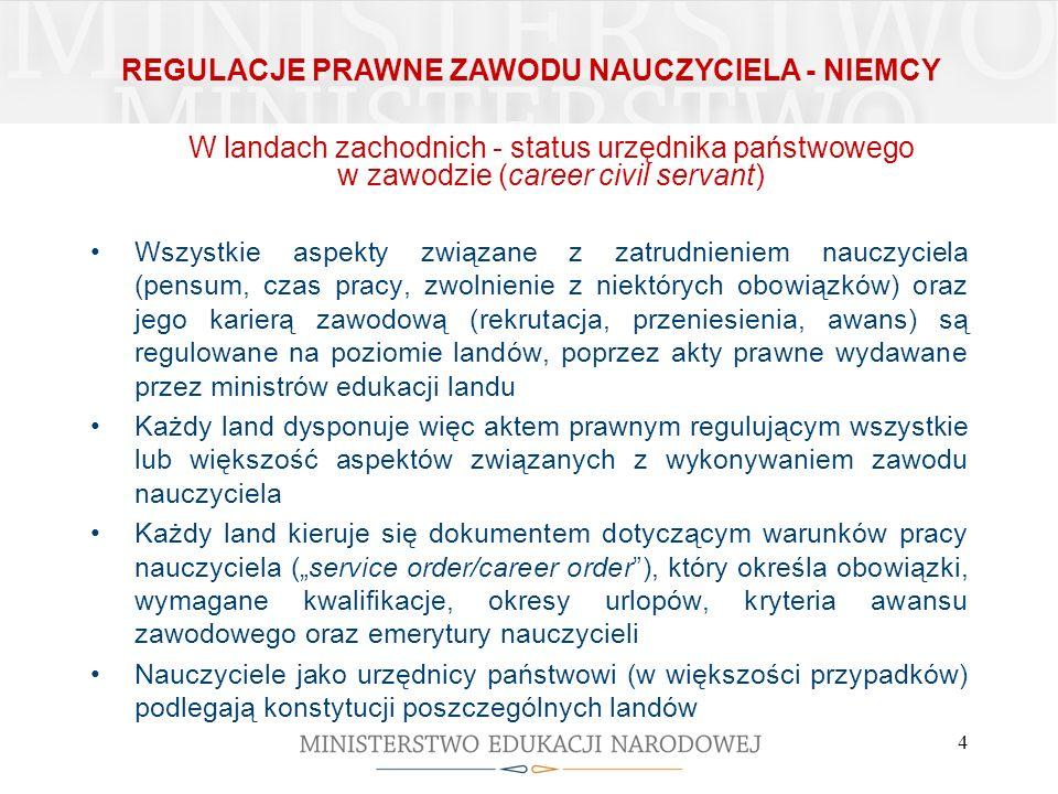 4 W landach zachodnich - status urzędnika państwowego w zawodzie (career civil servant) Wszystkie aspekty związane z zatrudnieniem nauczyciela (pensum
