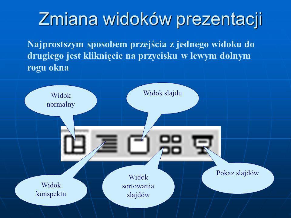 Widok prezentacji PowerPoint umożliwia wyświetlanie pokazu slajdów w pięciu różnych widokach