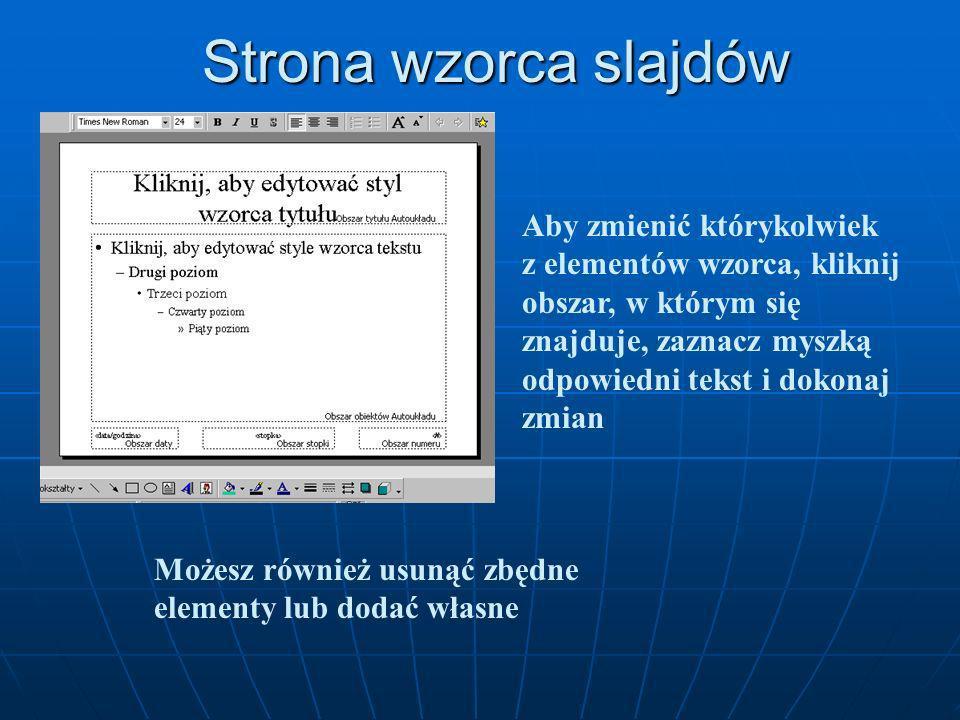 Wzorzec slajdów Wzorzec slajdów umożliwia: określenie krojów i rozmiarów czcionek tytułów i list wypunktowanych wstawienie elementów graficznych pojaw