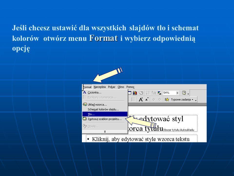 Strona wzorca slajdów Aby zmienić którykolwiek z elementów wzorca, kliknij obszar, w którym się znajduje, zaznacz myszką odpowiedni tekst i dokonaj zm