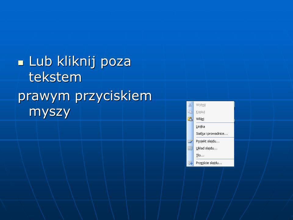 Format Jeśli chcesz ustawić dla wszystkich slajdów tło i schemat kolorów otwórz menu Format i wybierz odpowiednią opcję