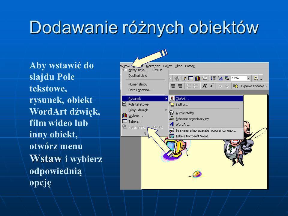 Usuwanie slajdów Delete Jeśli jesteś w widoku Konspekt lub Sortowanie slajdów, kliknij na slajdzie, który chcesz usunąć i naciśnij Delete Edycja Usuń