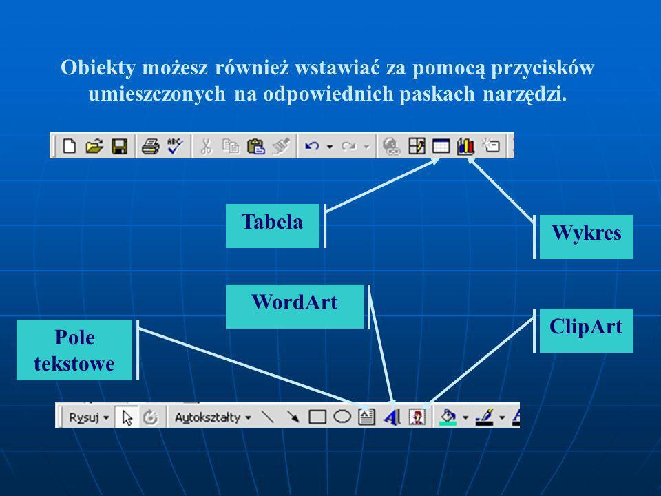 Dodawanie różnych obiektów Wstaw Aby wstawić do slajdu Pole tekstowe, rysunek, obiekt WordArt dźwięk, film wideo lub inny obiekt, otwórz menu Wstaw i