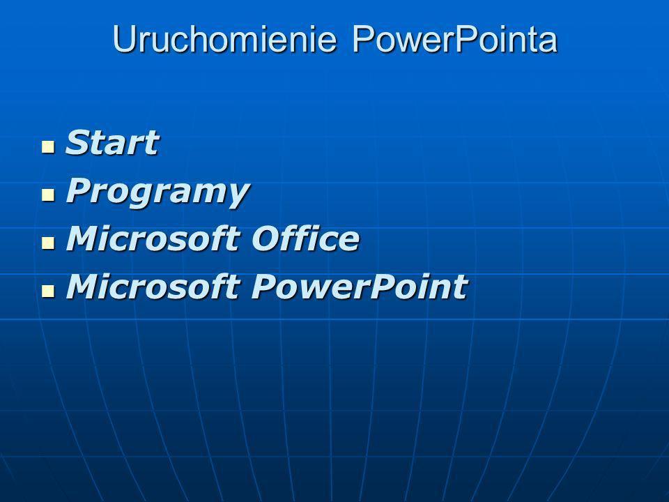 Uruchomienie PowerPointa Uruchomienie PowerPointa Start Start Programy Programy Microsoft Office Microsoft Office Microsoft PowerPoint Microsoft PowerPoint