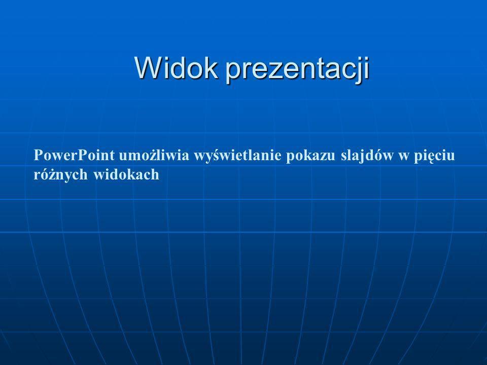 Układ slajdu Okienko Układ slajdu z prawej strony ekranu umożliwia nam szybką zmianę układu prezentowanych treści. Okienko Układ slajdu z prawej stron