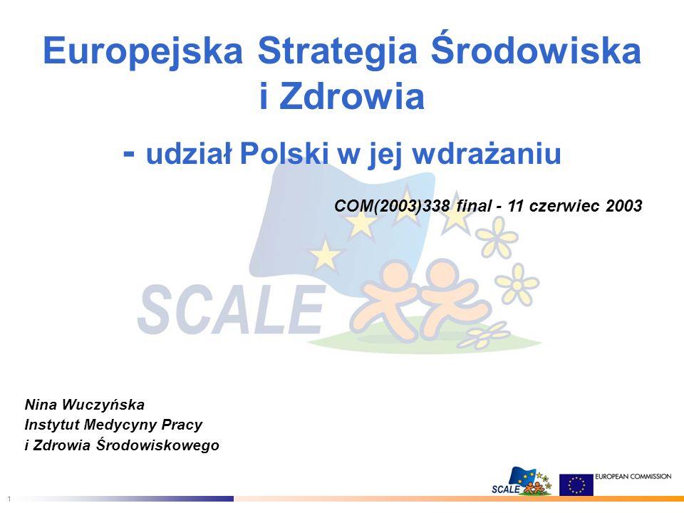 1 Europejska Strategia Środowiska i Zdrowia - udział Polski w jej wdrażaniu COM(2003)338 final - 11 czerwiec 2003 Nina Wuczyńska Instytut Medycyny Pracy i Zdrowia Środowiskowego