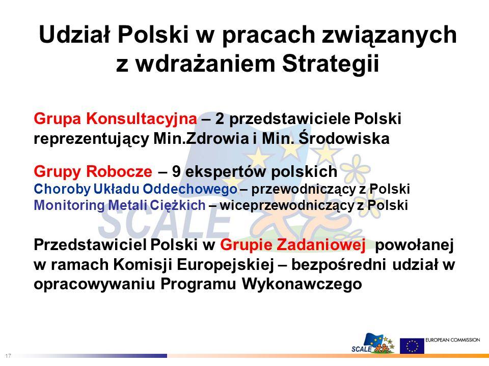 17 Udział Polski w pracach związanych z wdrażaniem Strategii Grupa Konsultacyjna – 2 przedstawiciele Polski reprezentujący Min.Zdrowia i Min.