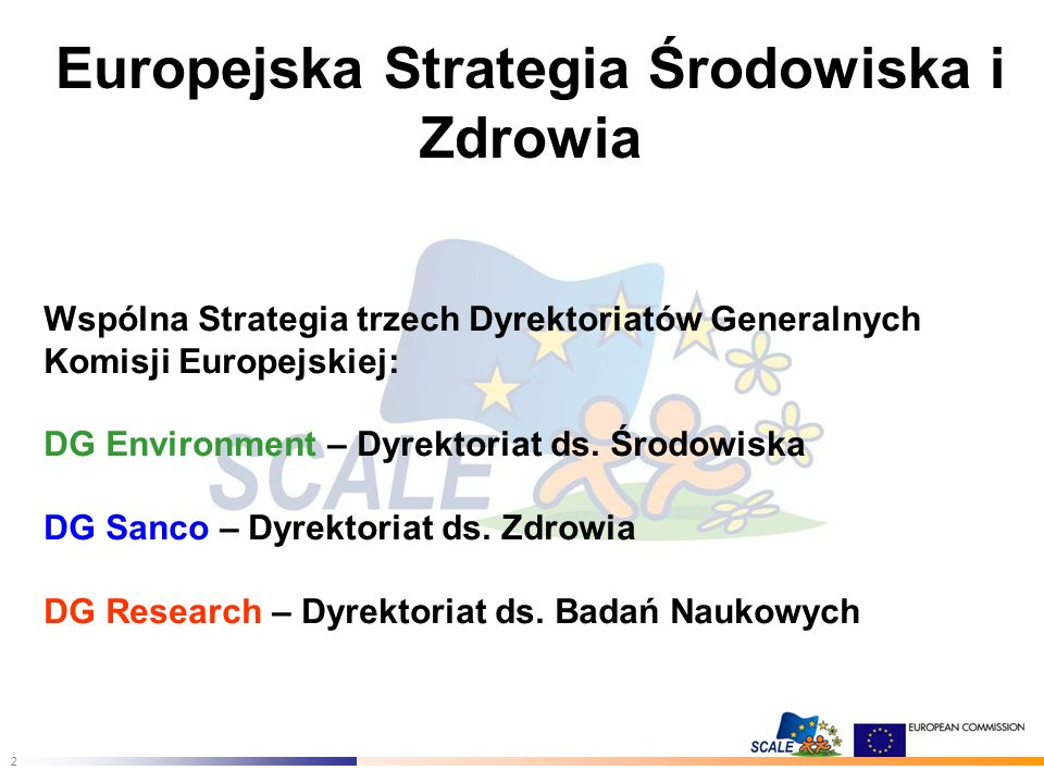 3 GŁÓWNE CELE STRATEGII Zredukowanie negatywnego wpływu czynników środowiskowych na zdrowie w krajach UE Rozpoznanie i prewencja nowych zagrożeń zdrowia wywoływanych przez czynniki środowiskowe Wzmocnienie kompetencji i potencjału UE niezbędnego dla wdrażania skutecznej polityki w zakresie zdrowia środowiskowego