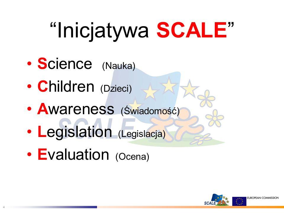 4 Inicjatywa SCALE Science (Nauka) Children (Dzieci) Awareness (Świadomość) Legislation (Legislacja) Evaluation (Ocena)