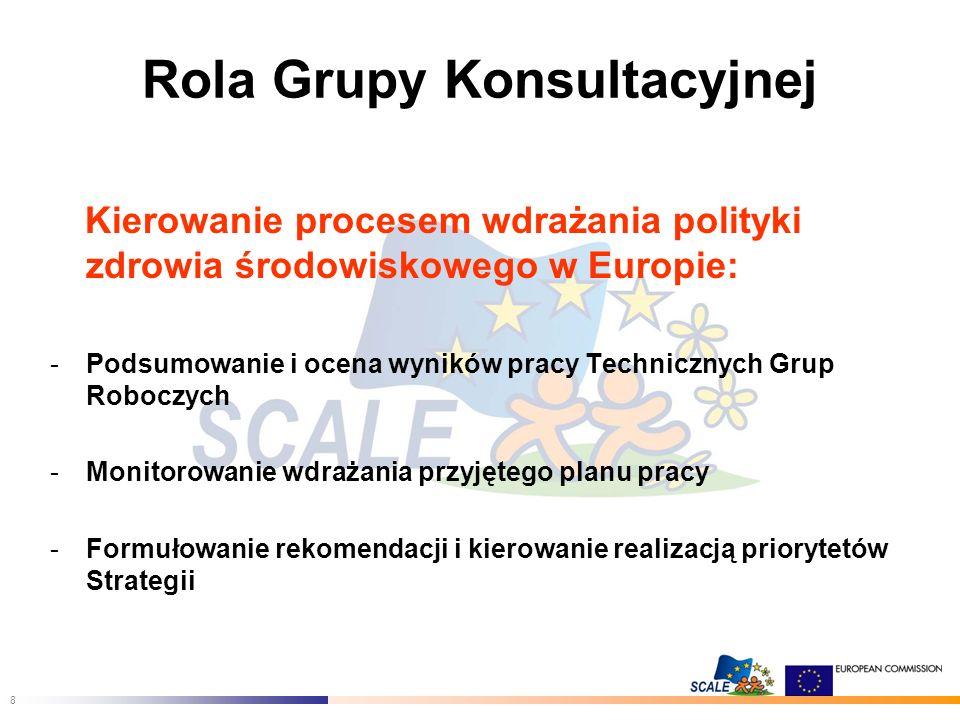 8 Rola Grupy Konsultacyjnej Kierowanie procesem wdrażania polityki zdrowia środowiskowego w Europie: -Podsumowanie i ocena wyników pracy Technicznych Grup Roboczych -Monitorowanie wdrażania przyjętego planu pracy -Formułowanie rekomendacji i kierowanie realizacją priorytetów Strategii