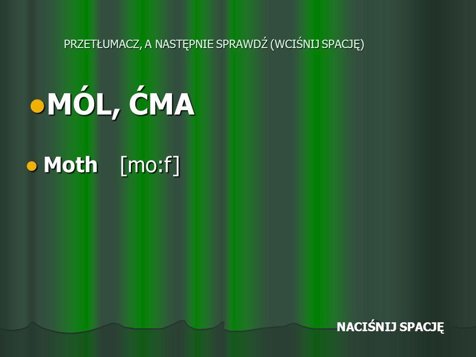 PRZETŁUMACZ, A NASTĘPNIE SPRAWDŹ (WCIŚNIJ SPACJĘ) MÓL, ĆMA MÓL, ĆMA Moth [mo:f] Moth [mo:f] NACIŚNIJ SPACJĘ