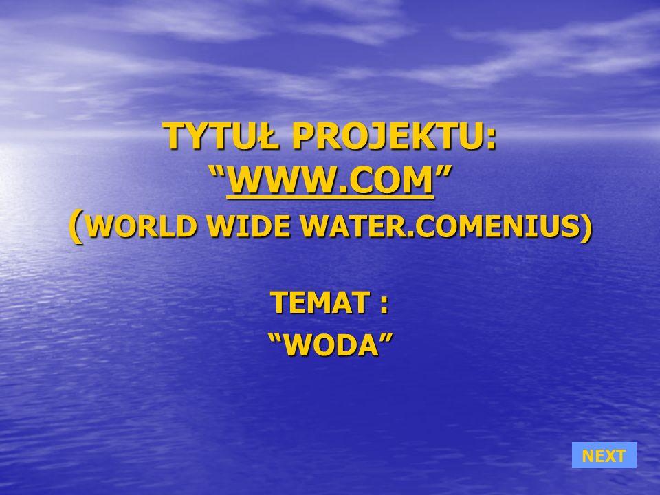 TYTUŁ PROJEKTU:WWW.COM ( WORLD WIDE WATER.COMENIUS) WWW.COM TEMAT : WODAWODA NEXT