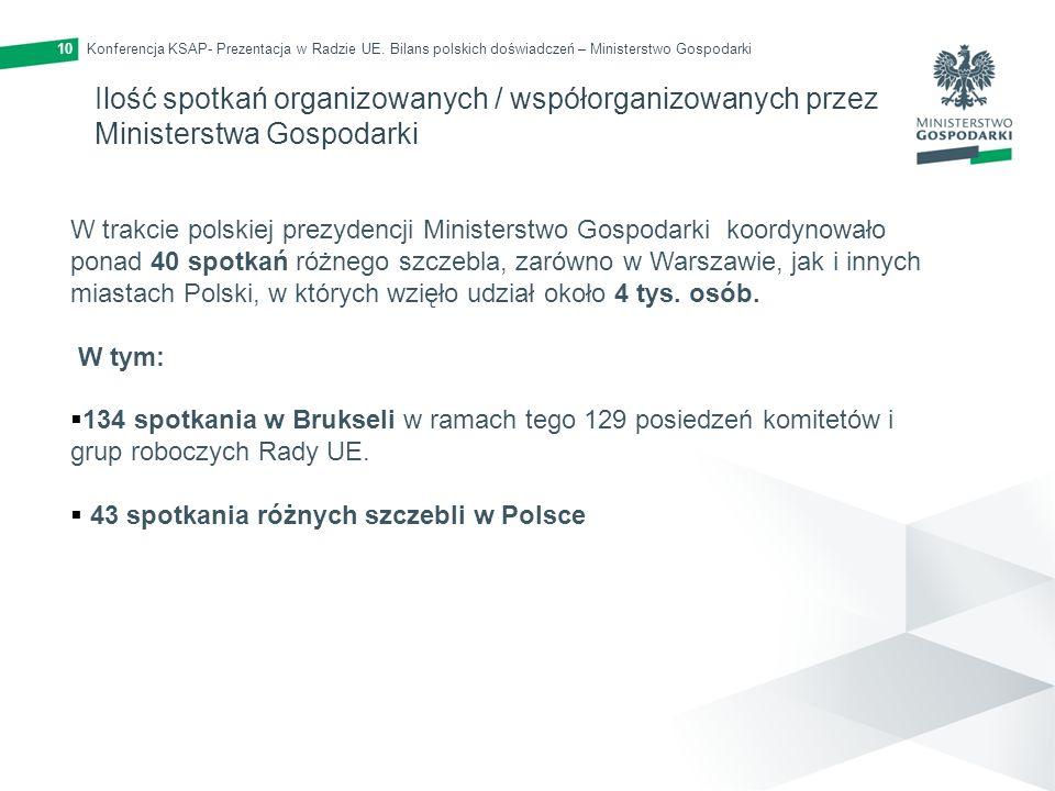 Konferencja KSAP- Prezentacja w Radzie UE. Bilans polskich doświadczeń – Ministerstwo Gospodarki10 Ilość spotkań organizowanych / współorganizowanych