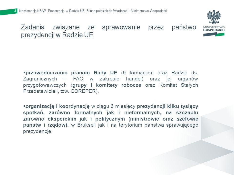 Konferencja KSAP- Prezentacja w Radzie UE. Bilans polskich doświadczeń – Ministerstwo Gospodarki3 Zadania związane ze sprawowanie przez państwo prezyd