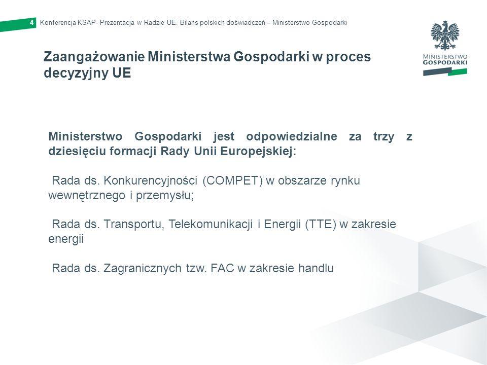 Konferencja KSAP- Prezentacja w Radzie UE. Bilans polskich doświadczeń – Ministerstwo Gospodarki4 Zaangażowanie Ministerstwa Gospodarki w proces decyz