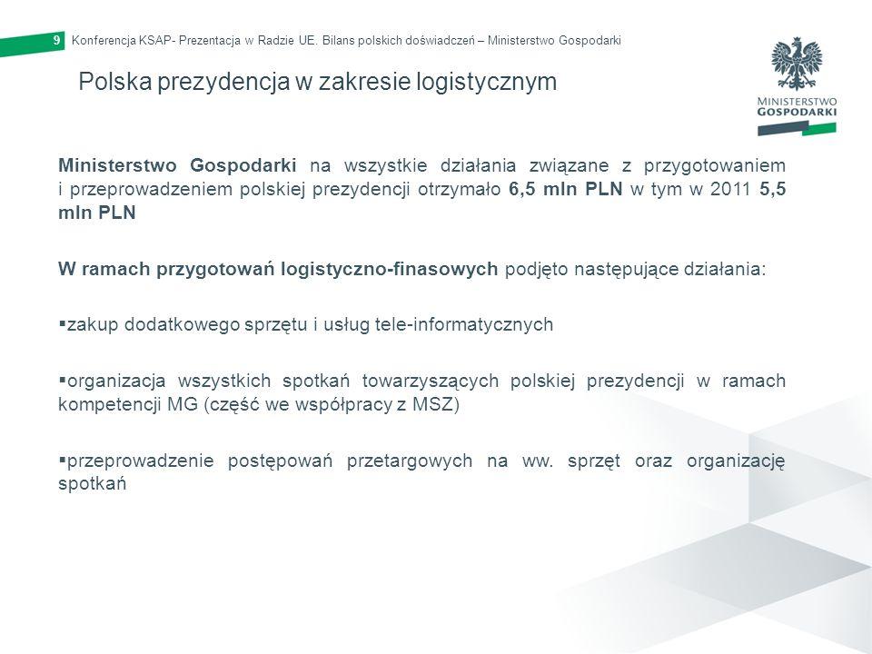 Konferencja KSAP- Prezentacja w Radzie UE. Bilans polskich doświadczeń – Ministerstwo Gospodarki9 Polska prezydencja w zakresie logistycznym Ministers