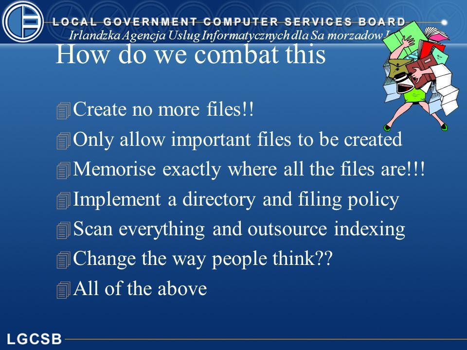 Irlandzka Agencja Uslug Informatycznych dla Sa morzadow Lokalnych How do we combat this 4 Create no more files!.