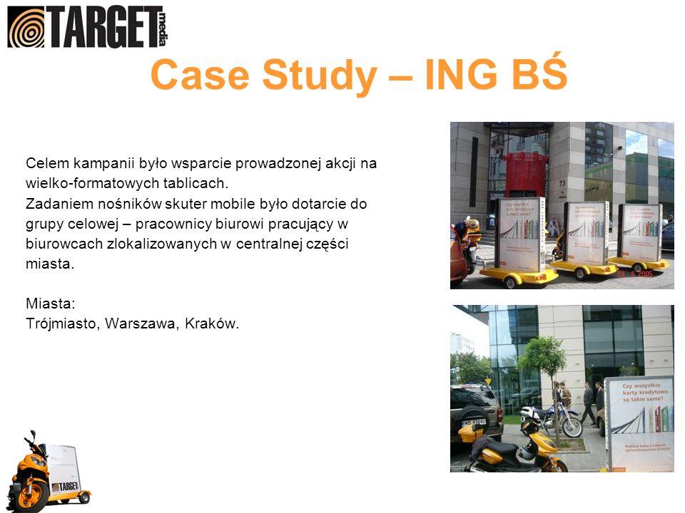 Case Study – ING BŚ Celem kampanii było wsparcie prowadzonej akcji na wielko-formatowych tablicach. Zadaniem nośników skuter mobile było dotarcie do g
