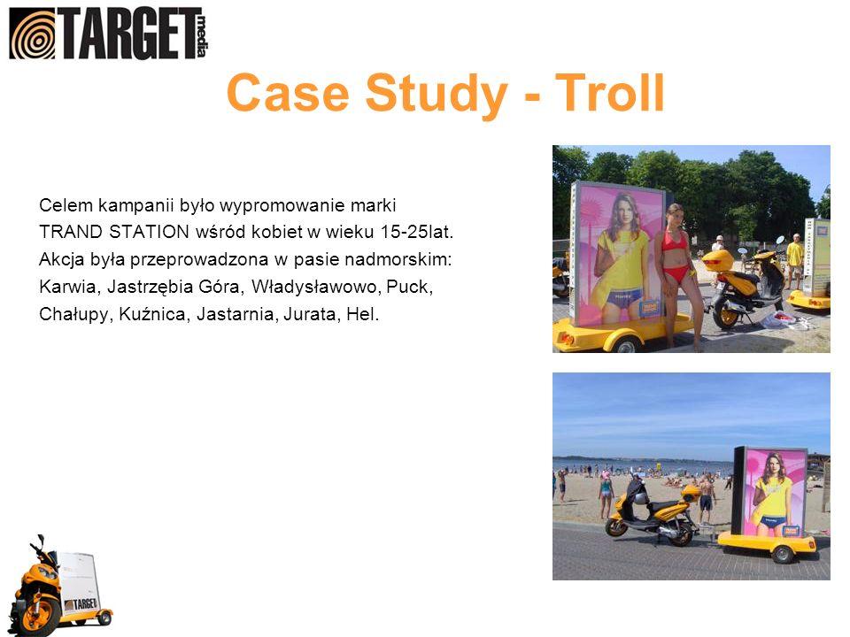 Case Study - Troll Celem kampanii było wypromowanie marki TRAND STATION wśród kobiet w wieku 15-25lat. Akcja była przeprowadzona w pasie nadmorskim: K