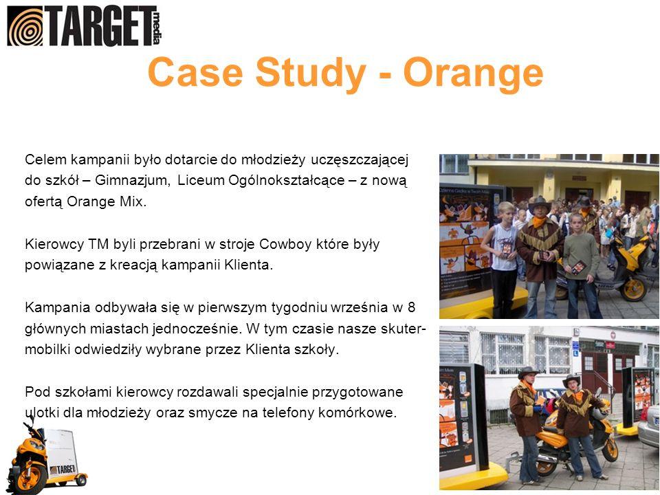 Case Study - Orange Celem kampanii było dotarcie do młodzieży uczęszczającej do szkół – Gimnazjum, Liceum Ogólnokształcące – z nową ofertą Orange Mix.
