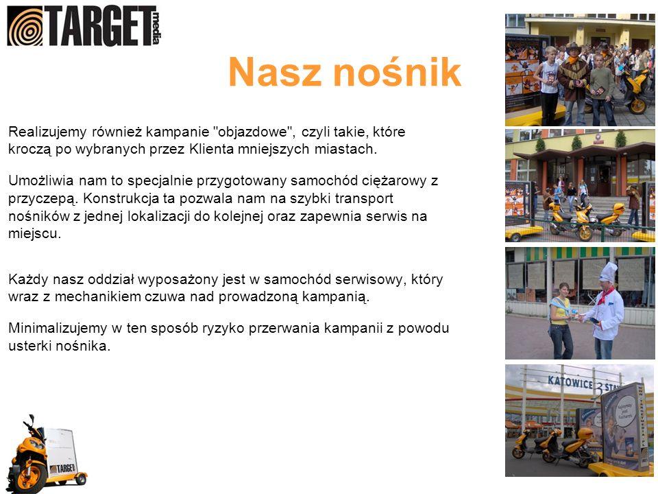Realizujemy również kampanie objazdowe , czyli takie, które kroczą po wybranych przez Klienta mniejszych miastach.