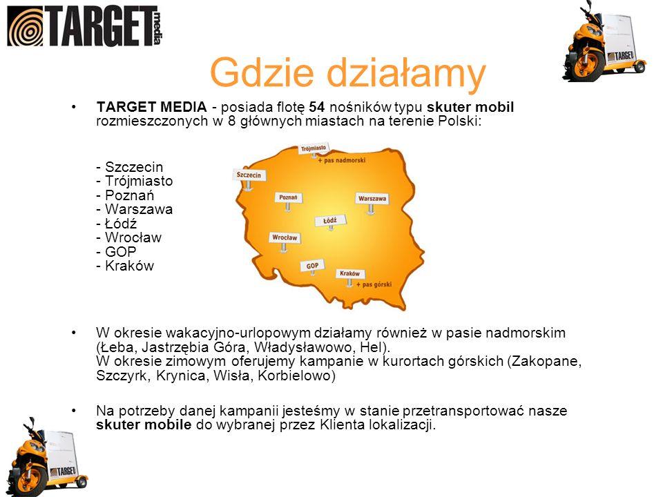 Gdzie działamy TARGET MEDIA - posiada flotę 54 nośników typu skuter mobil rozmieszczonych w 8 głównych miastach na terenie Polski: - Szczecin - Trójmiasto - Poznań - Warszawa - Łódź - Wrocław - GOP - Kraków W okresie wakacyjno-urlopowym działamy również w pasie nadmorskim (Łeba, Jastrzębia Góra, Władysławowo, Hel).