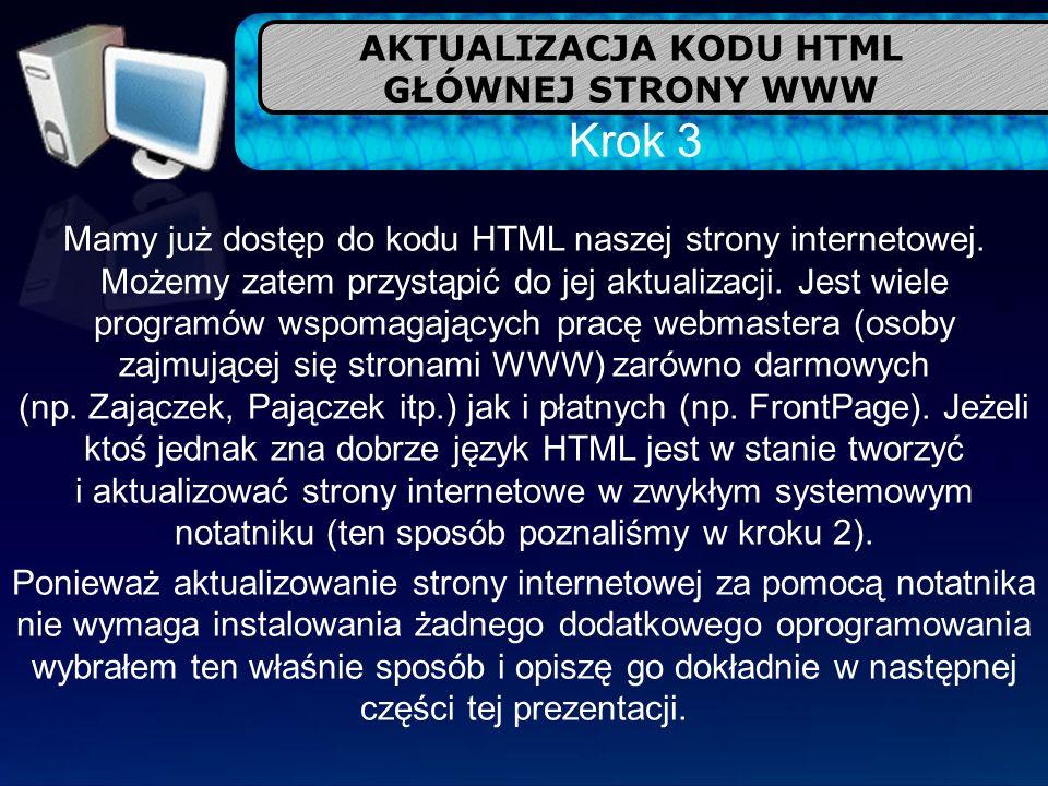 AKTUALIZACJA KODU HTML GŁÓWNEJ STRONY WWW Krok 3 Mamy już dostęp do kodu HTML naszej strony internetowej. Możemy zatem przystąpić do jej aktualizacji.