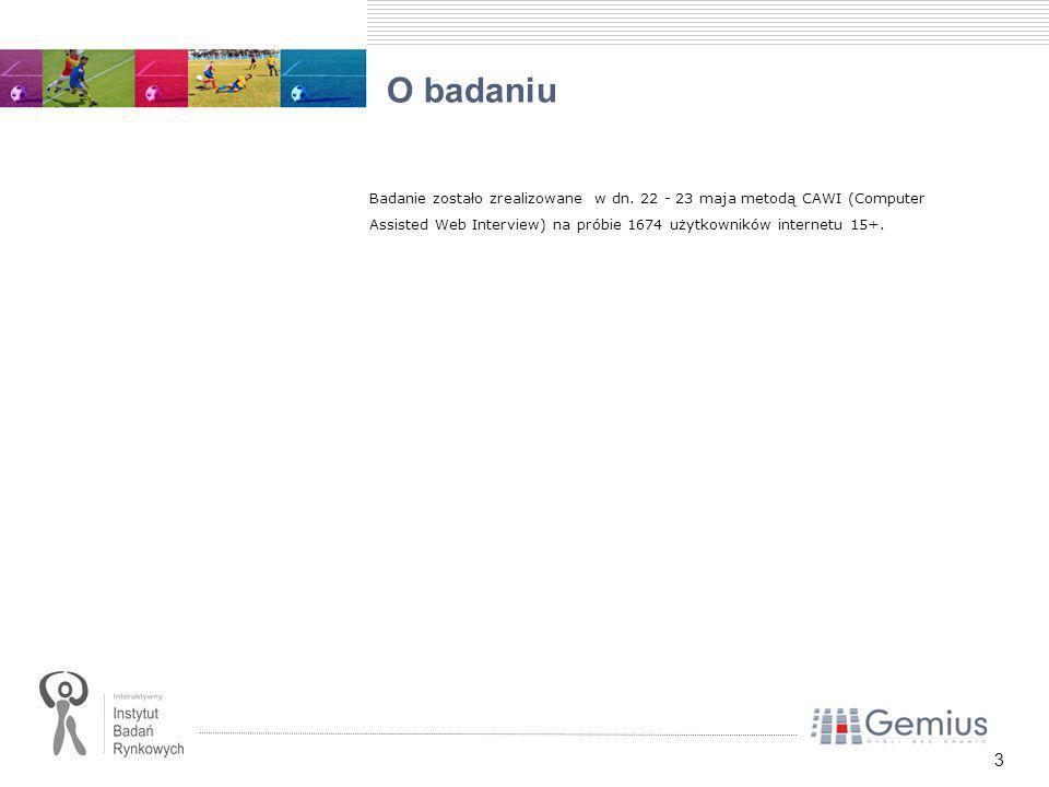 3 O badaniu Badanie zostało zrealizowane w dn. 22 - 23 maja metodą CAWI (Computer Assisted Web Interview) na próbie 1674 użytkowników internetu 15+.