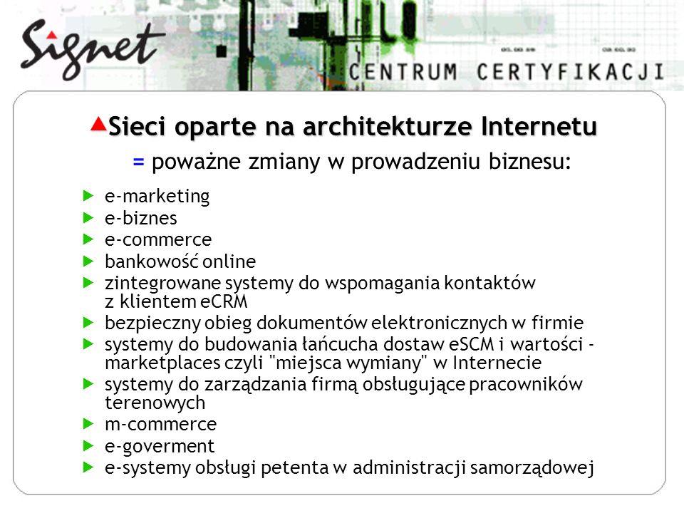 e-marketing e-biznes e-commerce bankowość online zintegrowane systemy do wspomagania kontaktów z klientem eCRM bezpieczny obieg dokumentów elektronicznych w firmie systemy do budowania łańcucha dostaw eSCM i wartości - marketplaces czyli miejsca wymiany w Internecie systemy do zarządzania firmą obsługujące pracowników terenowych m-commerce e-goverment e-systemy obsługi petenta w administracji samorządowej = poważne zmiany w prowadzeniu biznesu: Sieci oparte na architekturze Internetu Sieci oparte na architekturze Internetu