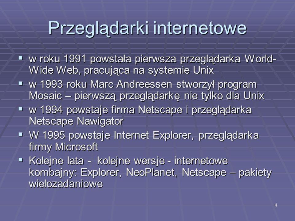 4 Przeglądarki internetowe w roku 1991 powstała pierwsza przeglądarka World- Wide Web, pracująca na systemie Unix w roku 1991 powstała pierwsza przegl