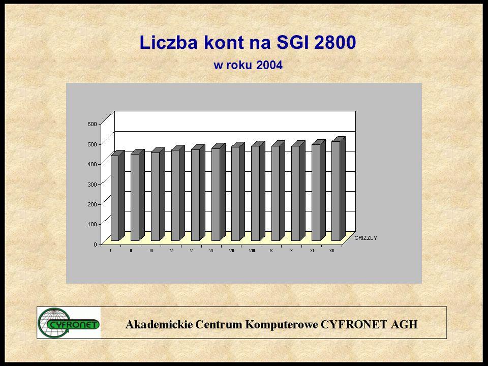 Liczba kont na SGI 2800 w roku 2004