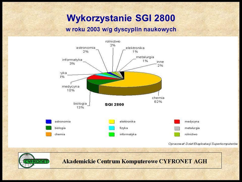 Wykorzystanie SGI 2800 w roku 2003 w/g dyscyplin naukowych