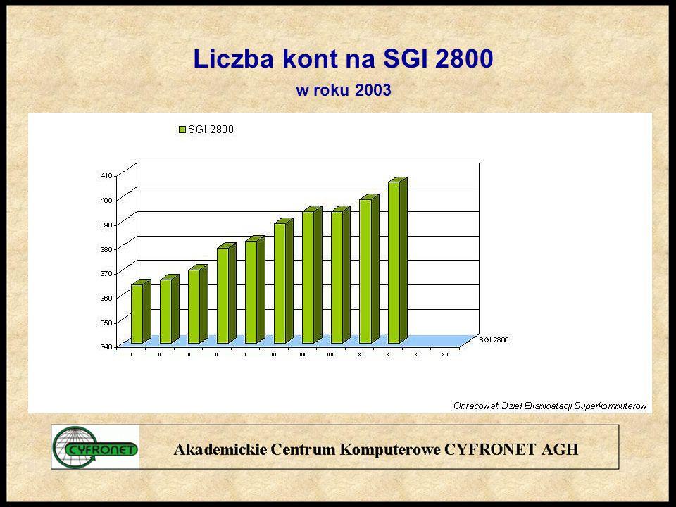 Liczba kont na SGI 2800 w roku 2003